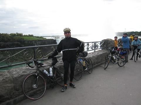 Dave on bicycle at Niagara Falls